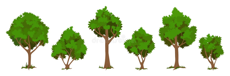 Vector trees set. Isolated on white baskground stock illustration
