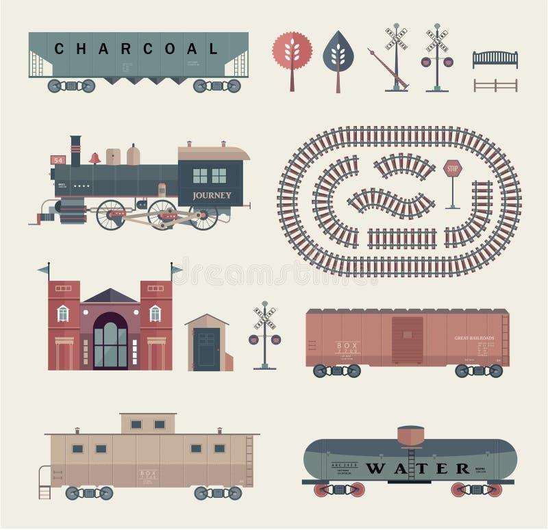 Vector treinreeks royalty-vrije illustratie