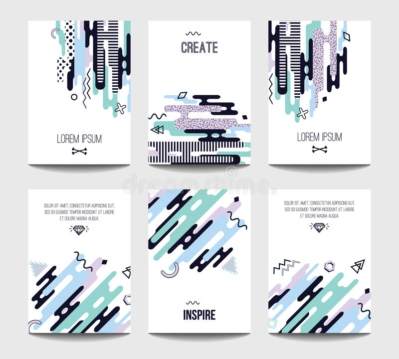 Vector trendy brochure templates with chaotic flat geometry in memphis style vector illustration