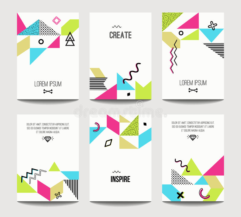 Vector trendy brochure templates with chaotic flat geometry in memphis style royalty free illustration