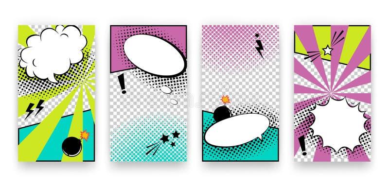Vector trendy editable set of templates for social media networks stories. Modern design backgrounds for flyers, cards royalty free illustration