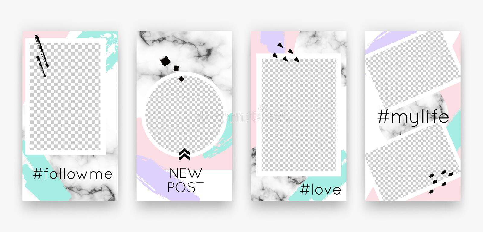 Vector trendy editable set of templates for social media networks stories. Modern design backgrounds with geometric elements. For flyers, cards, posters stock illustration
