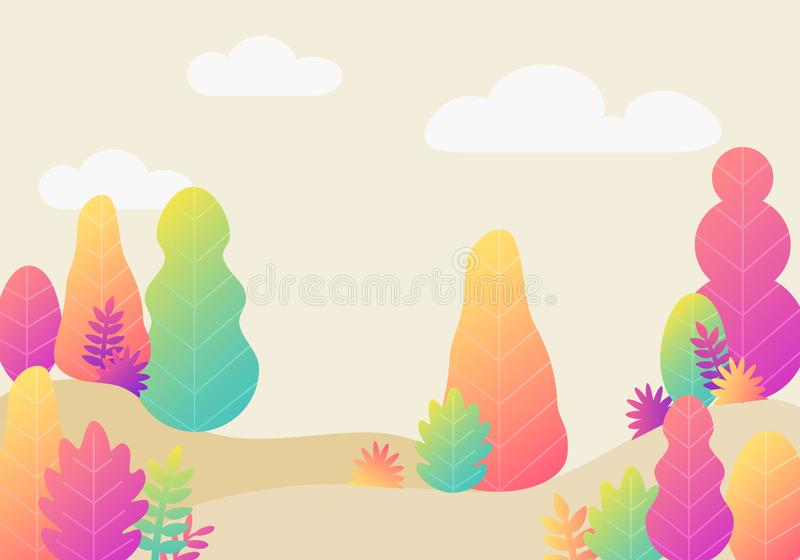 Vector trendy fantasy background with plants. Modern illustration with trees, leaves. Flat design stock illustration