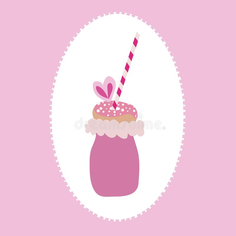 Vector of trendy freakyshake with cotton candy, doughnut with sprinkles, and a straw on a pink and white background. royalty free illustration