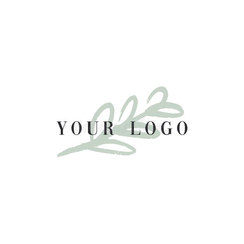 Vector trendy hand drawn beauty logo for organic cosmetics, florist, blogger and more royalty free illustration