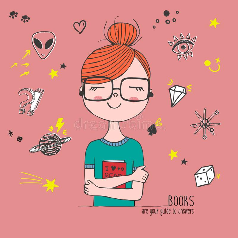 Vector hand drawn trendy illustration with fashion girl holding a book with glases, patches, cute sketch card, linear graphic vector illustration