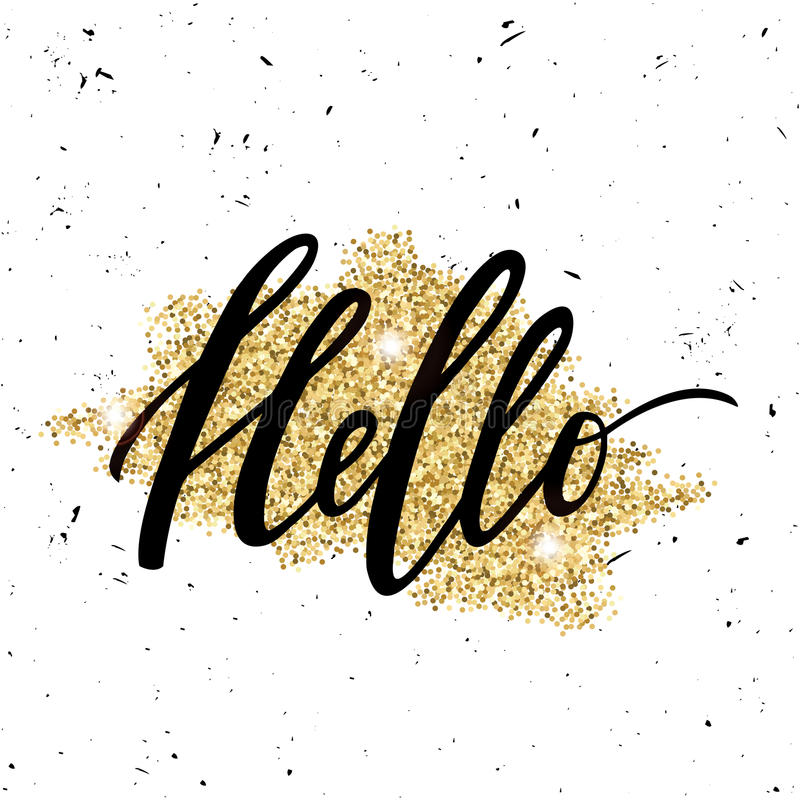 Vector trendy illustration with `Hello` lettering and golden glitter effect stock illustration