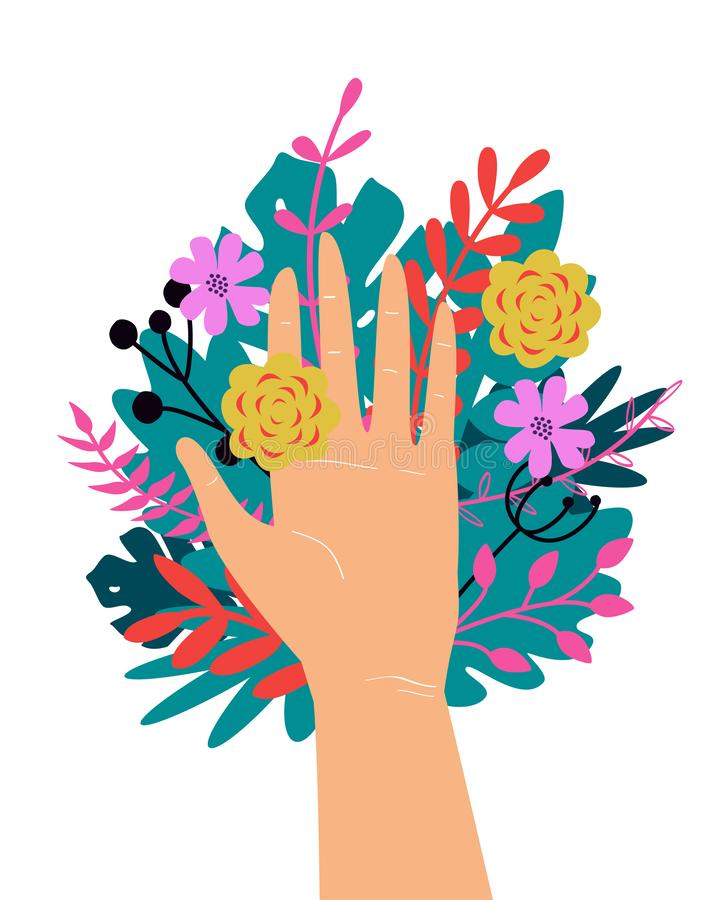 Vector trendy illustration with woman hand isolated with flowers. Cute romantic design for Save the Planet poster. Valentine`s day, wedding invitation royalty free illustration