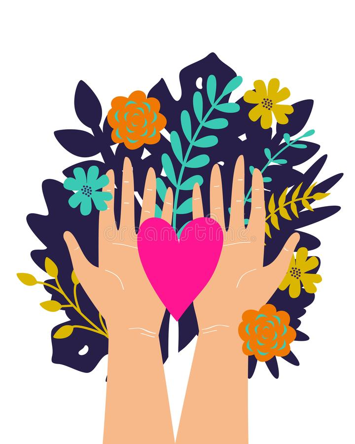 Vector trendy illustration with woman hands isolated with flowers and heart. Cute romantic design for Save the Planet poster,. Valentine`s day, wedding stock illustration