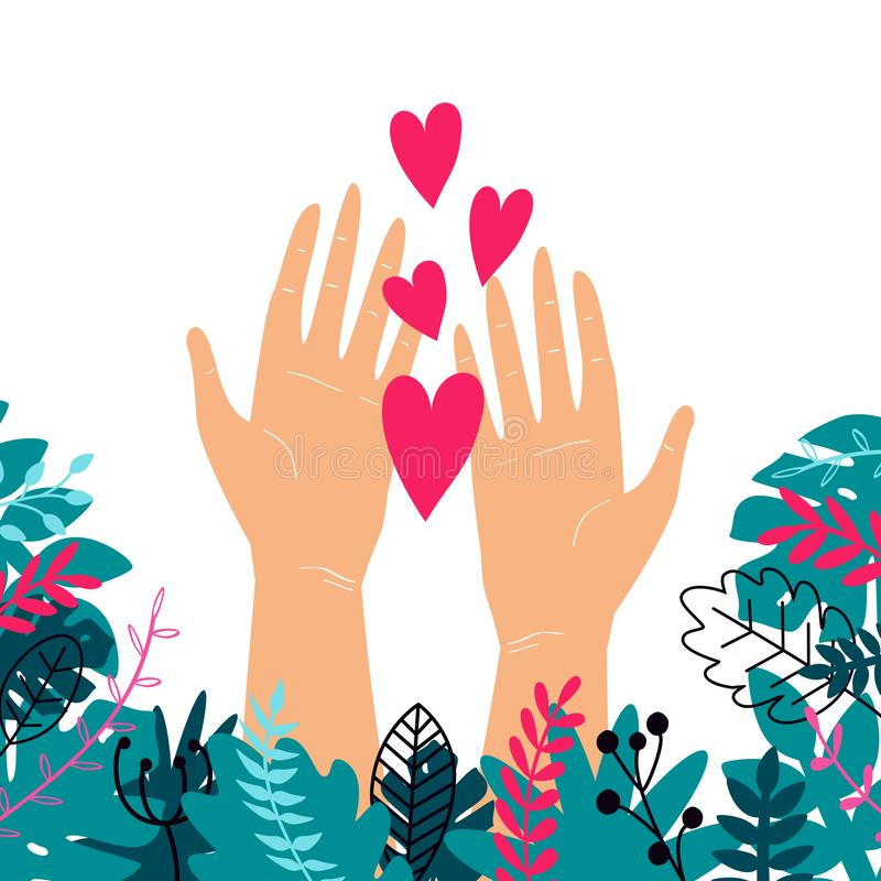 Vector trendy illustration with woman hands isolated with plants and hearts. Cute romantic design for Save the Planet poster,. Valentine`s day, wedding royalty free illustration