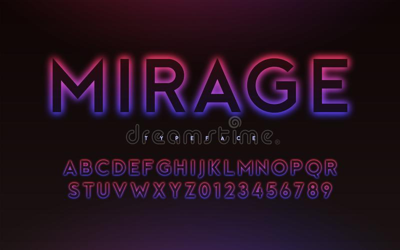 Vector trendy neon light or eclipse style glowing font design stock illustration