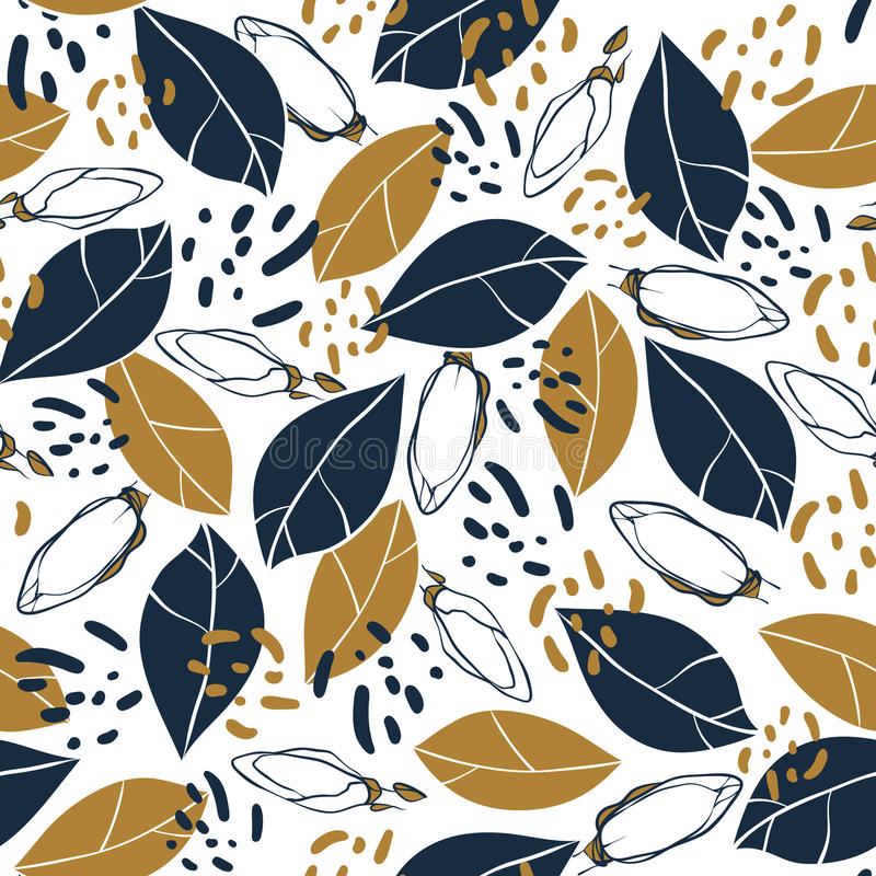 Vector trendy seamless pattern with botanical elements. Magnolia buds and leaves in deep blue and mustard colors. stock illustration