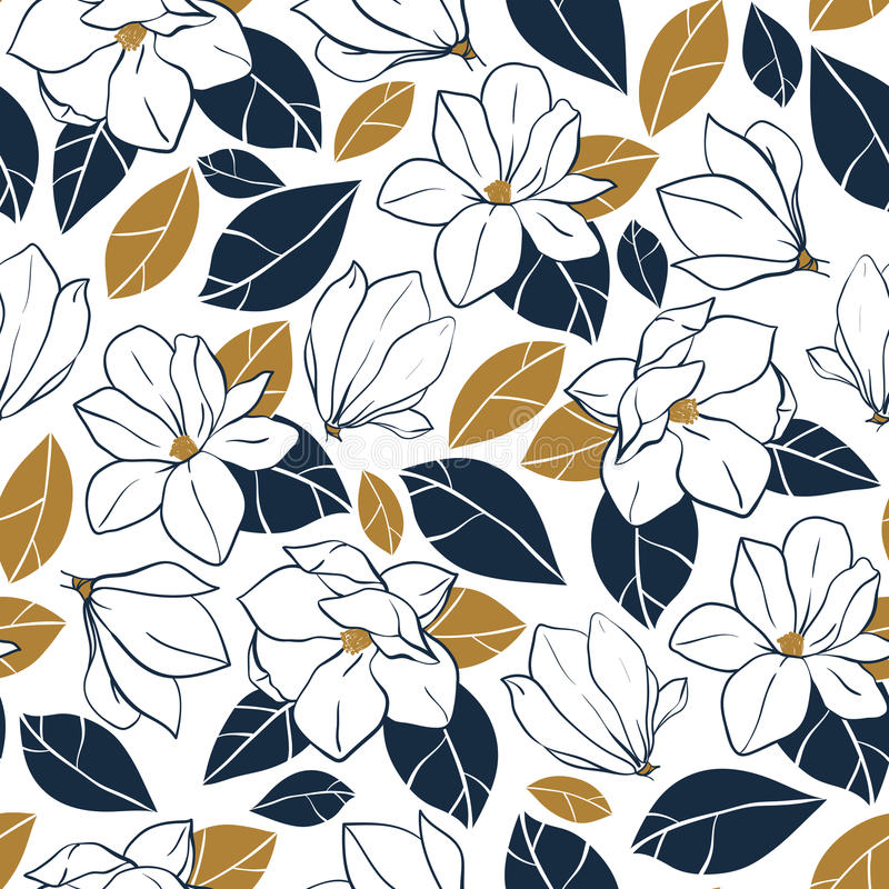 Vector trendy seamless pattern with botanical elements. Magnolia flowers,buds and leaves in deep blue and mustard colors. stock illustration