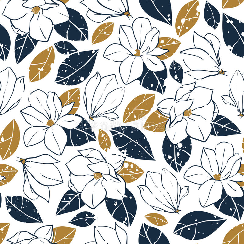 Vector trendy seamless pattern with botanical elements in vintage style.Magnolia flowers,buds and leaves in deep blue and mustard. Vector seamless pattern with stock illustration