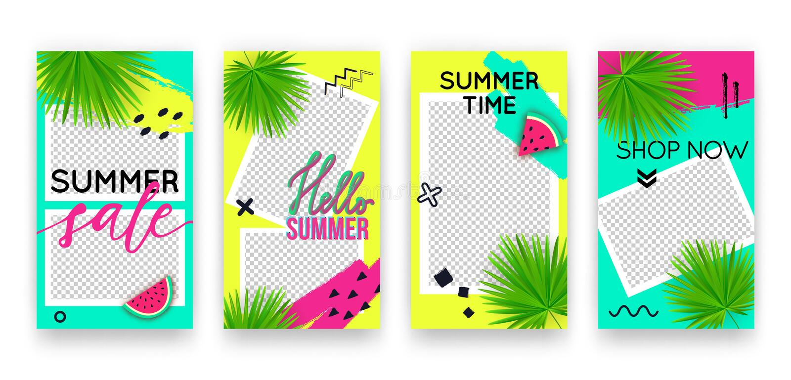 Vector trendy tropic editable set of templates for social media networks stories. Modern summer design backgrounds with watermelon vector illustration