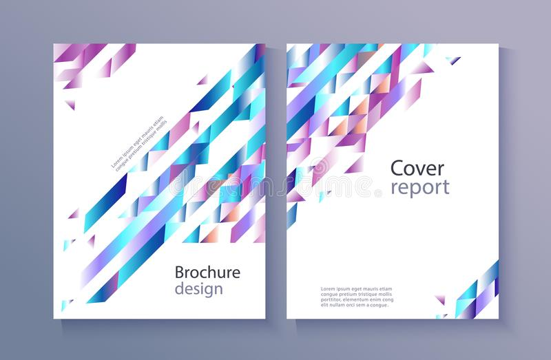Vector trendy vibrant gradient report cover. Modern report cover, trendy background template with vibrant blue purple gradient bold color, abstract geometric vector illustration