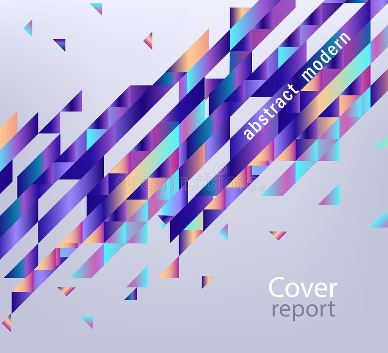 Vector trendy vibrant gradient report cover. Modern report cover, trendy background template with vibrant blue purple gradient bold color, abstract geometric stock illustration