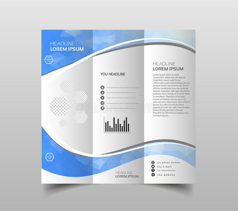 Vector of tri-fold brochure design templates with modern polygonal background on white. Modern triangle presentation template. Bus. Iness design background royalty free illustration