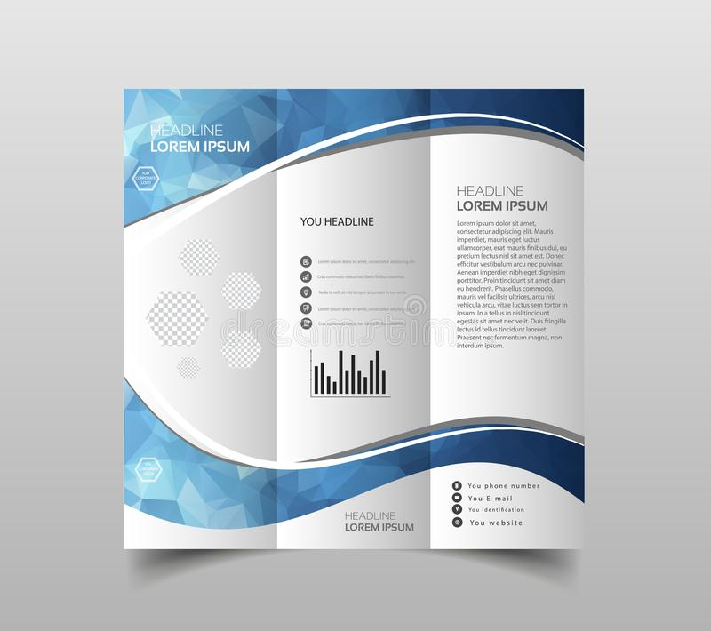 Vector of tri-fold brochure design templates with modern polygonal background on white. Modern triangle presentation template. Bus. Iness design background vector illustration