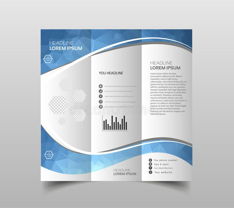 Vector of tri-fold brochure design templates with modern polygonal background on white. Modern triangle presentation template. Bus. Iness design background stock illustration