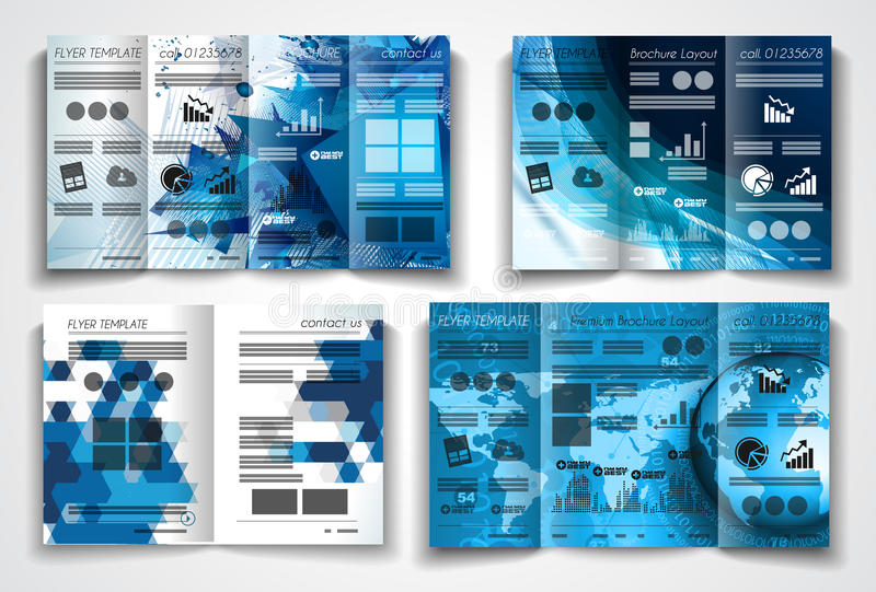 Vector tri fold brochure template design or flyer layout. To use for business applications, magazines, advertising, product sheets, item notes, event flyers or stock illustration