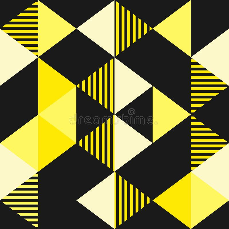 Vector triangle pattern with black and gold colors background stock illustration