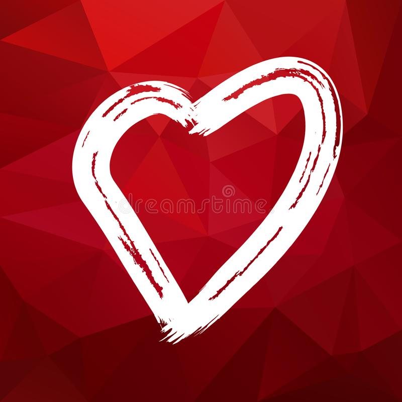 Vector triangle polygonal square background with hand drawn valentine heart - red and white color vector illustration
