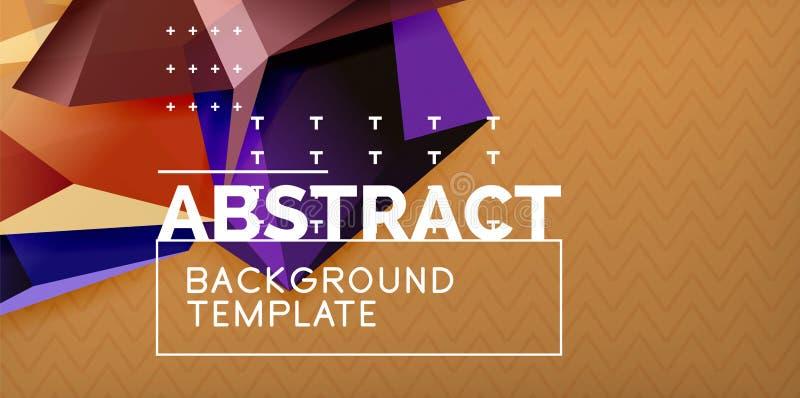 Vector triangular 3d geometric shapes background, modern poster design stock illustration