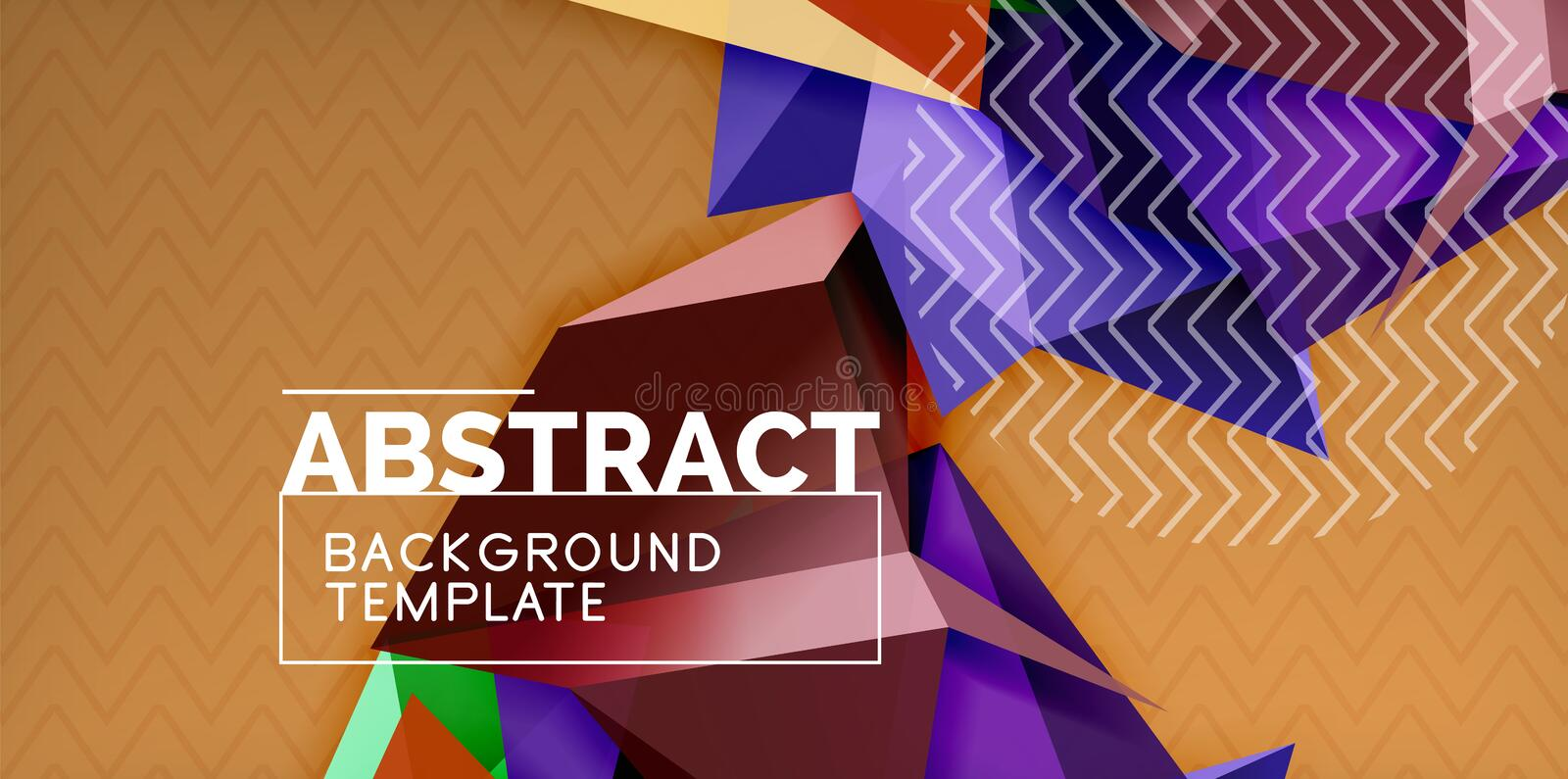 Vector triangular 3d geometric shapes background, modern poster design stock illustration