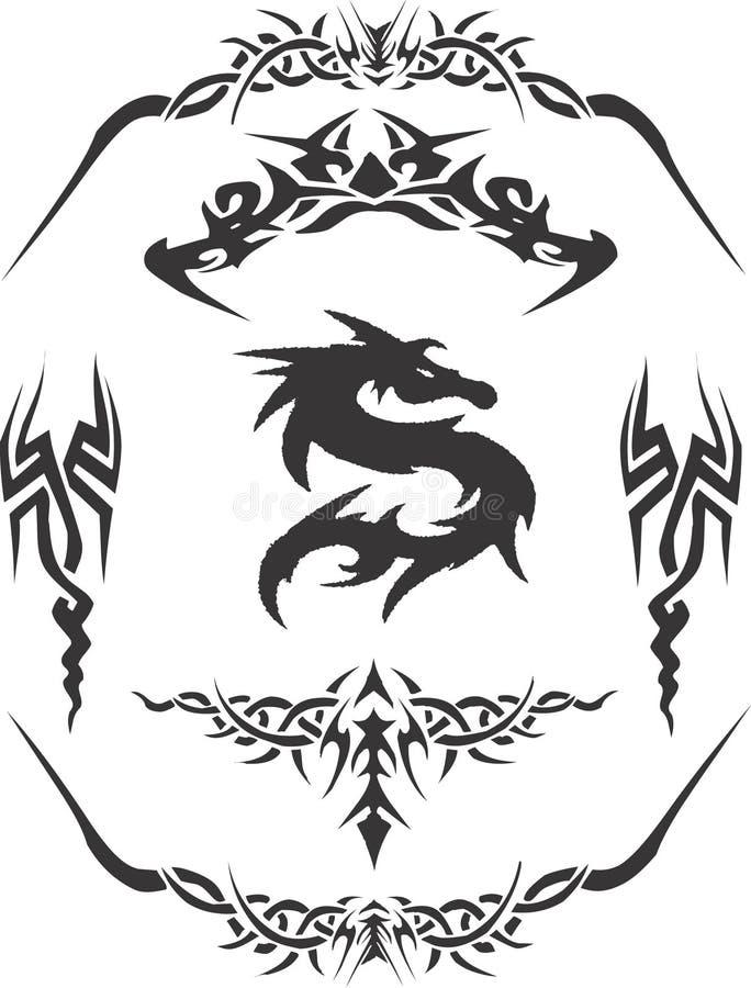 Vector tribal Clipart del diseño del tatuaje stock de ilustración