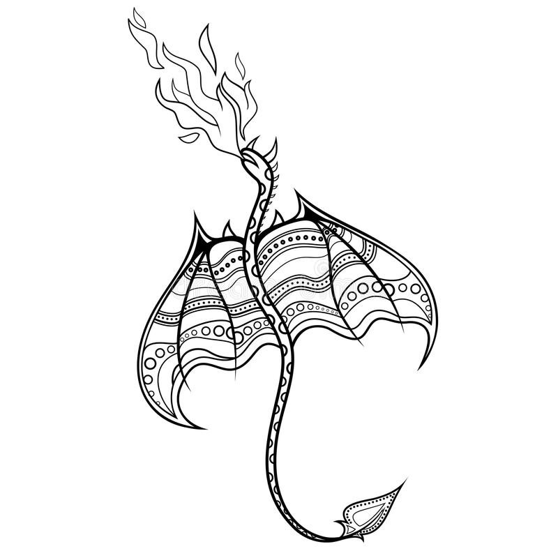 Vector Tribal Decorative Dragon. Patterned Design, Tattoo royalty free illustration