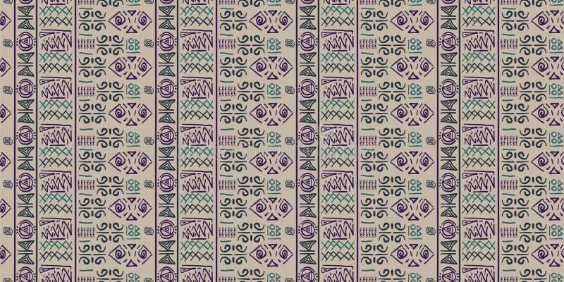 Vector tribal del modelo con estilo antiguo del símbolo egipcio inconsútil Fondo del ejemplo del vintage para la impresión de la  stock de ilustración