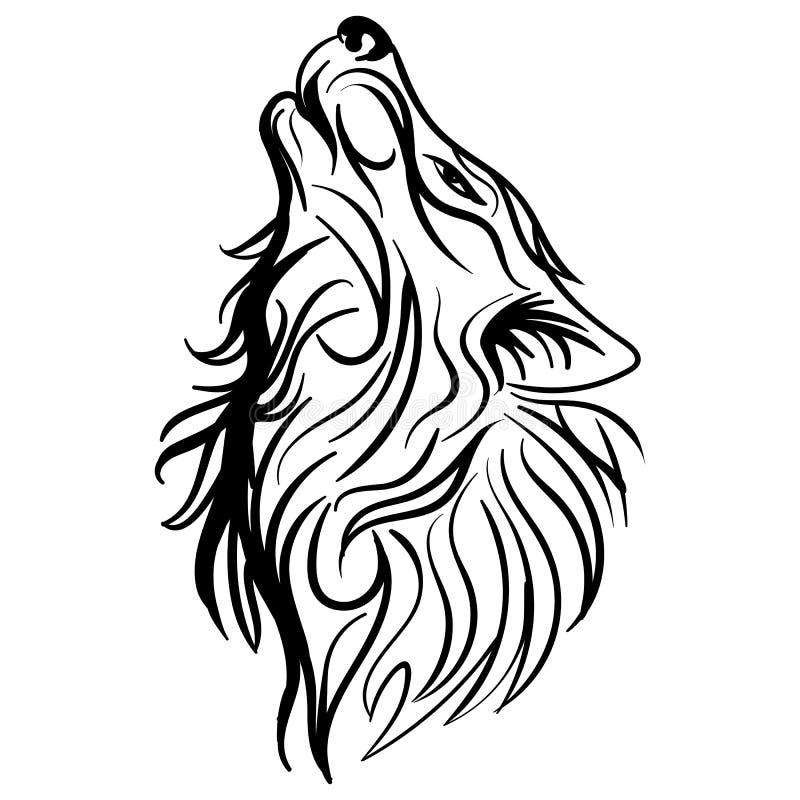 Vector tribal del tatuaje del diseño del aullido de la cabeza del lobo ilustración del vector