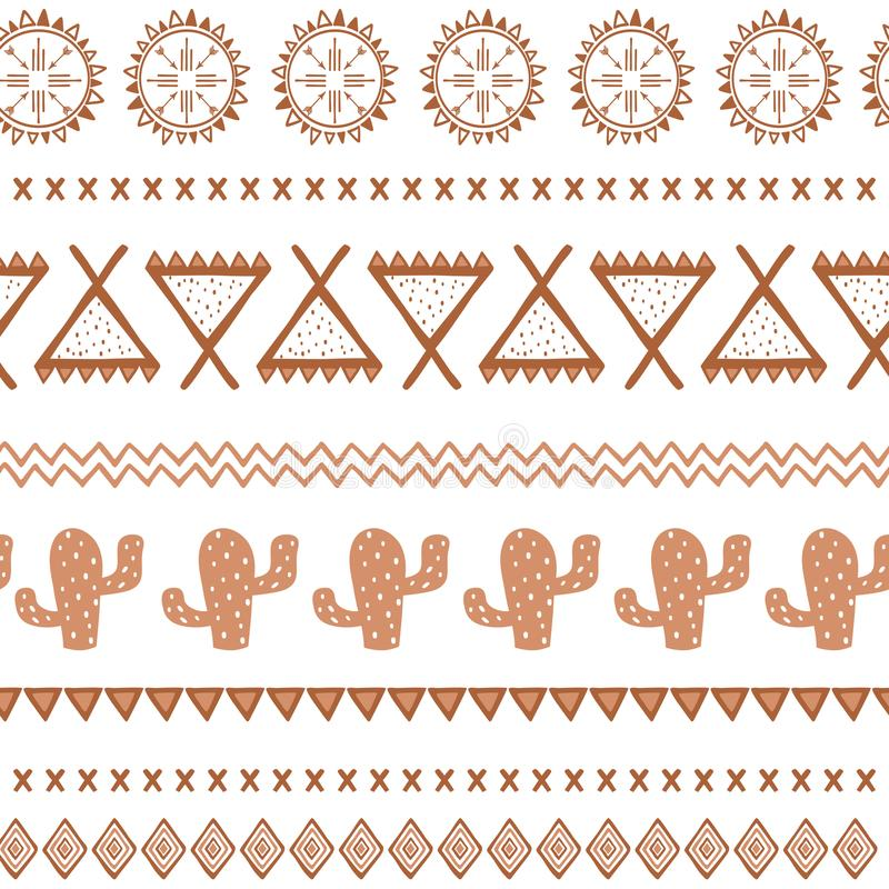 Vector tribal ethnic seamless pattern. Aztec abstract background. Mexican ornament texture in coffee brown color royalty free illustration