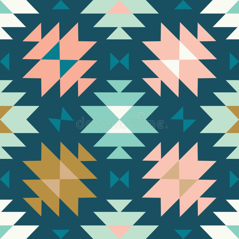 Vector tribal kilim teal and pink seamless repeat pattern background royalty free illustration