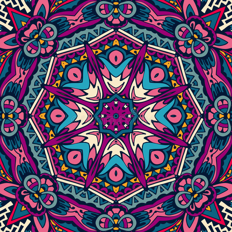 Vector Tribal Mexican ethnic seamless pattern stock illustration