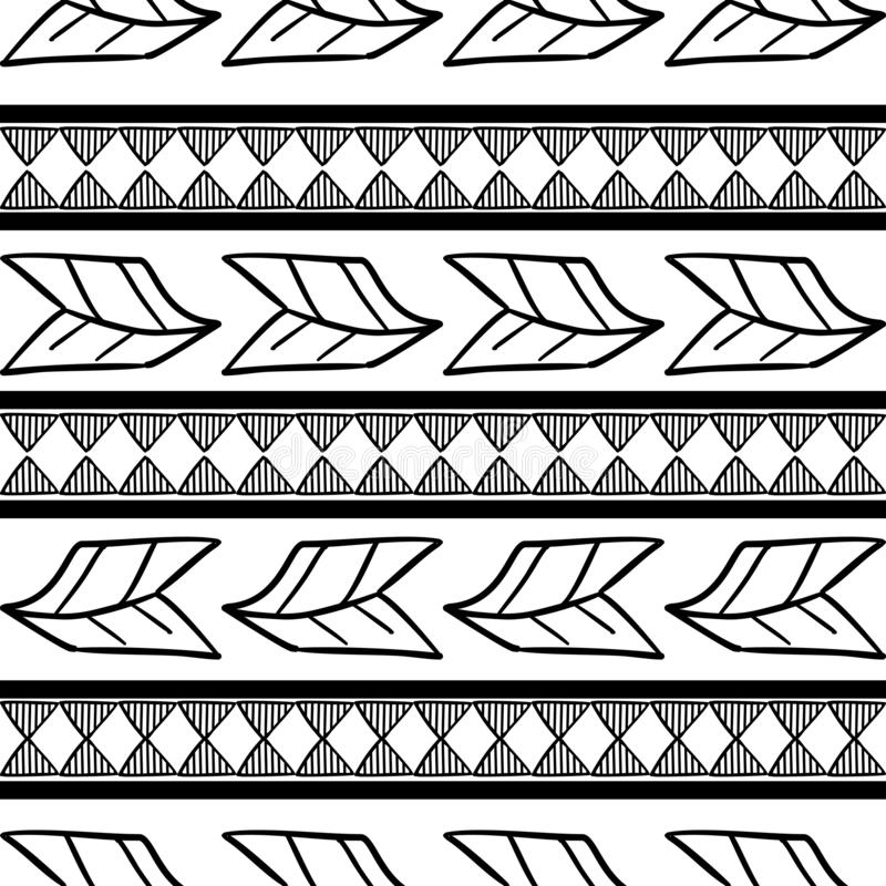 Vector tribal pattern with black and white drawing feather and abstract maya symbol stripes background. Good for your textile stock illustration