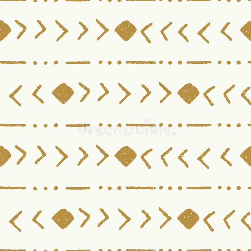 Vector tribal stripe gold and cream seamless repeat pattern background vector illustration