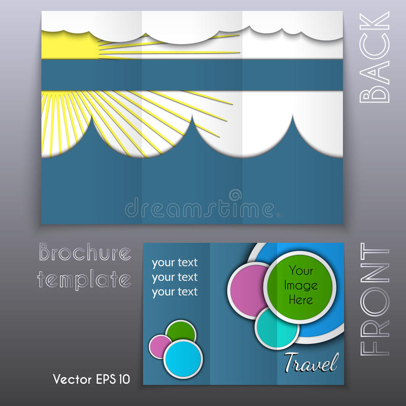 Vector trifold business brochure template design royalty free illustration