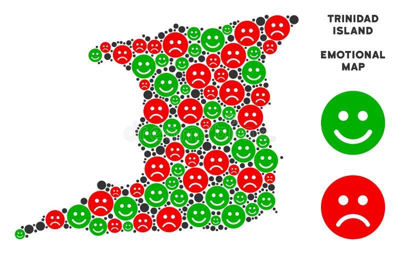 Vector Trinidad Island Map Composition emocional de Emojis stock de ilustración