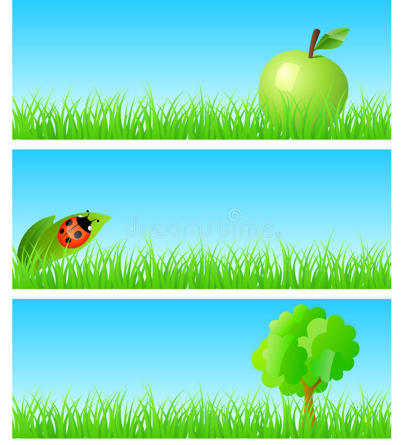 Vector triptych of objects on detailed grass royalty free stock photos