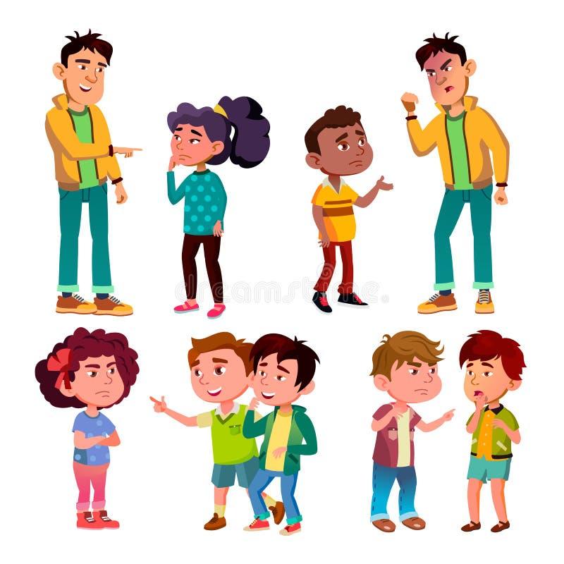 Vector triste y enojado del muchacho y de la muchacha del carácter de la víctima ilustración del vector