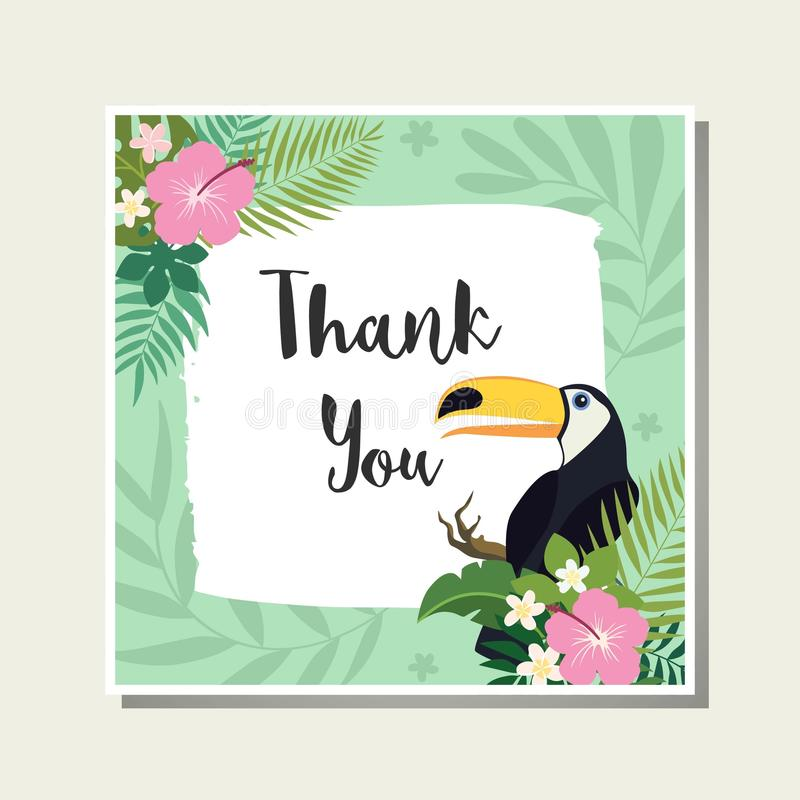 Vector tropical cards set. Cute cartoon cards with tropical leaves, flowers, bids stock illustration