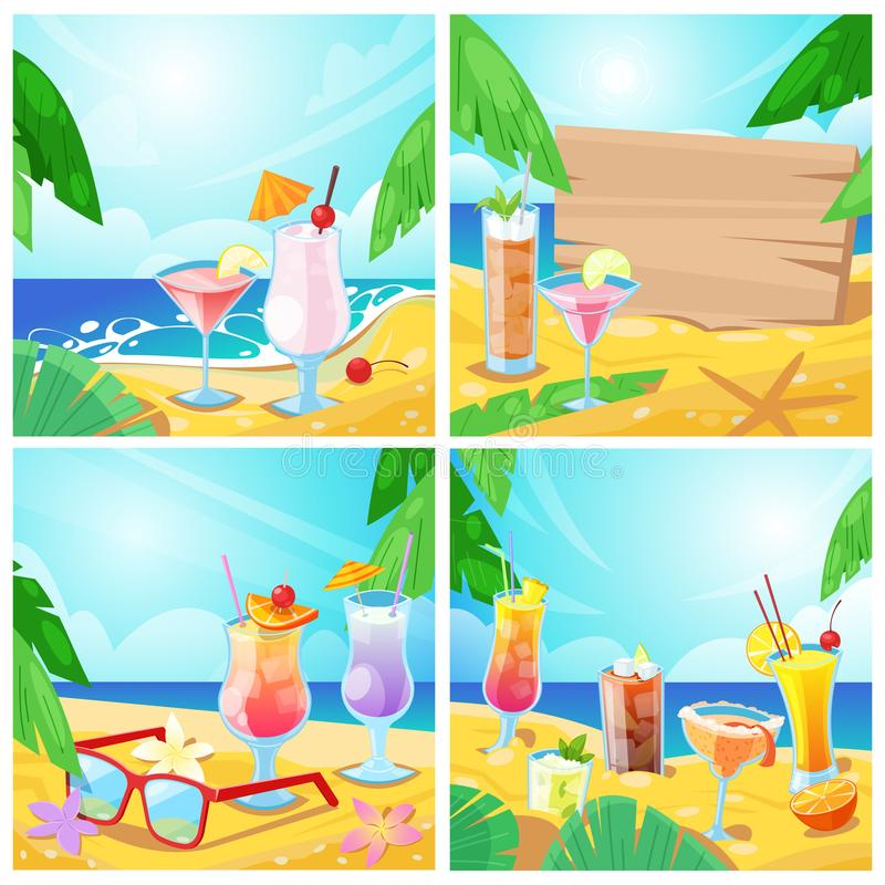 Vector tropical cocktails and beach bar concept. Set of summer illustration and backgrounds. Alcohol beverages and wooden board with place for text on sand vector illustration