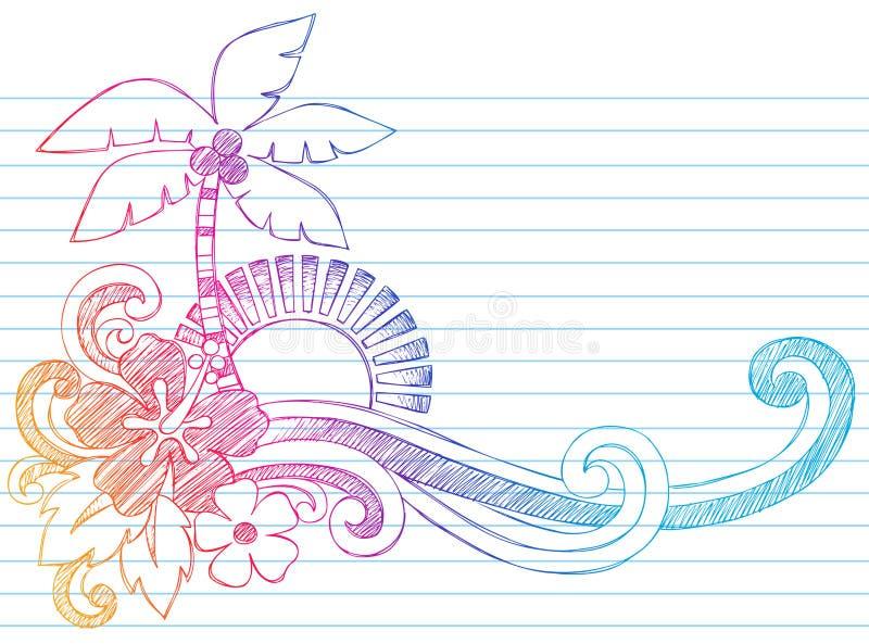 Vector tropical de las vacaciones de la isla de la playa del verano stock de ilustración