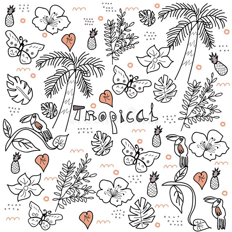 Vector tropical del estilo del garabato de la selva libre illustration