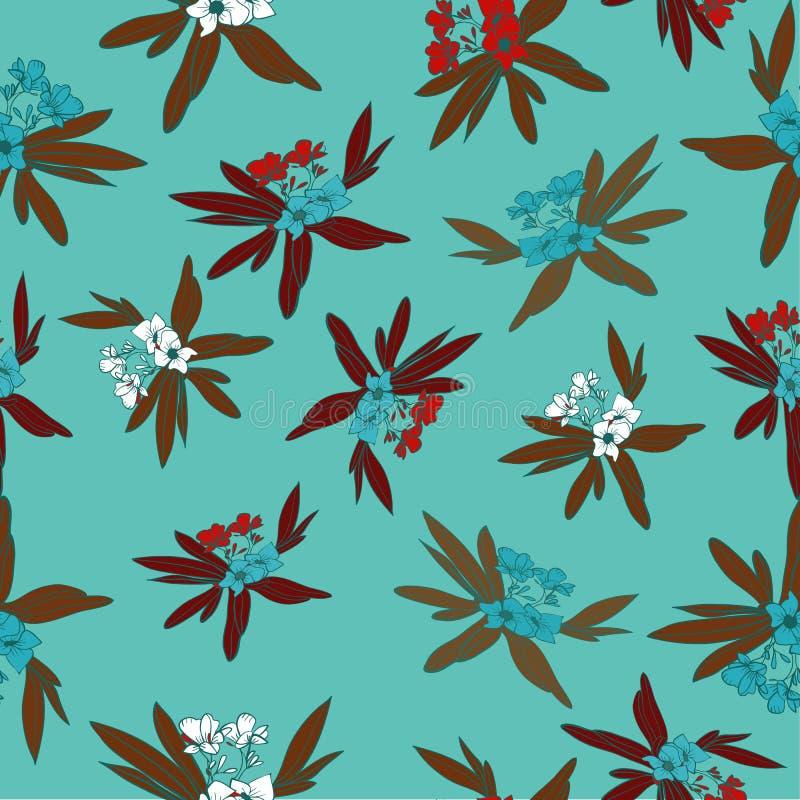 Vector tropical del fondo del modelo de la impresión floral Floridian en turquesa de la piscina stock de ilustración