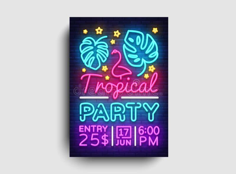 Vector tropical del neón del cartel del partido Plantilla del diseño del partido del verano, folleto de neón brillante, diseño mo ilustración del vector