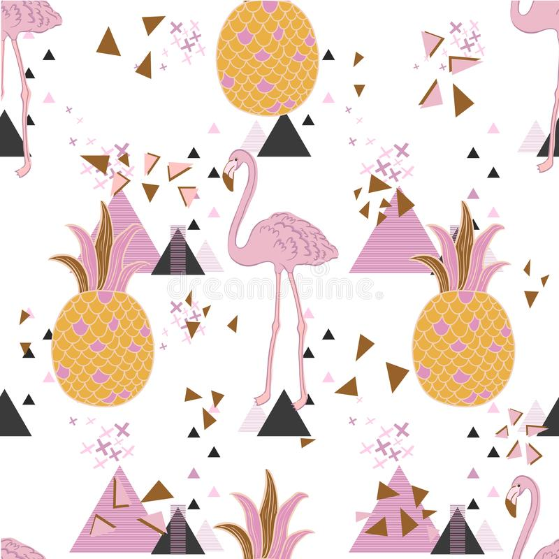 Vector tropical exotic seamless pattern with flamingo. royalty free illustration
