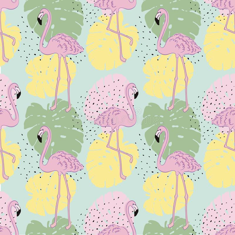 Vector tropical exotic seamless pattern with flamingo. stock illustration